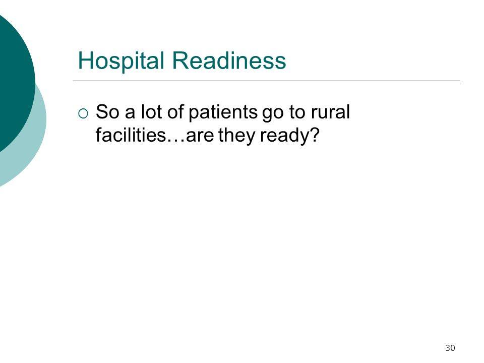 30 Hospital Readiness So a lot of patients go to rural facilities…are they ready