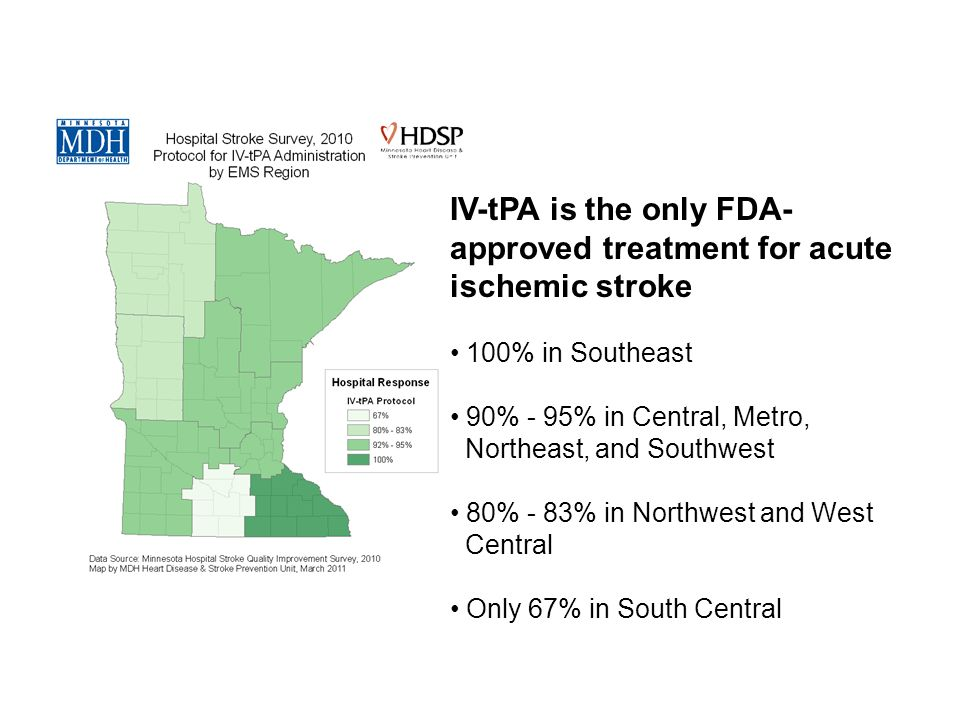IV-tPA is the only FDA- approved treatment for acute ischemic stroke 100% in Southeast 90% - 95% in Central, Metro, Northeast, and Southwest 80% - 83% in Northwest and West Central Only 67% in South Central
