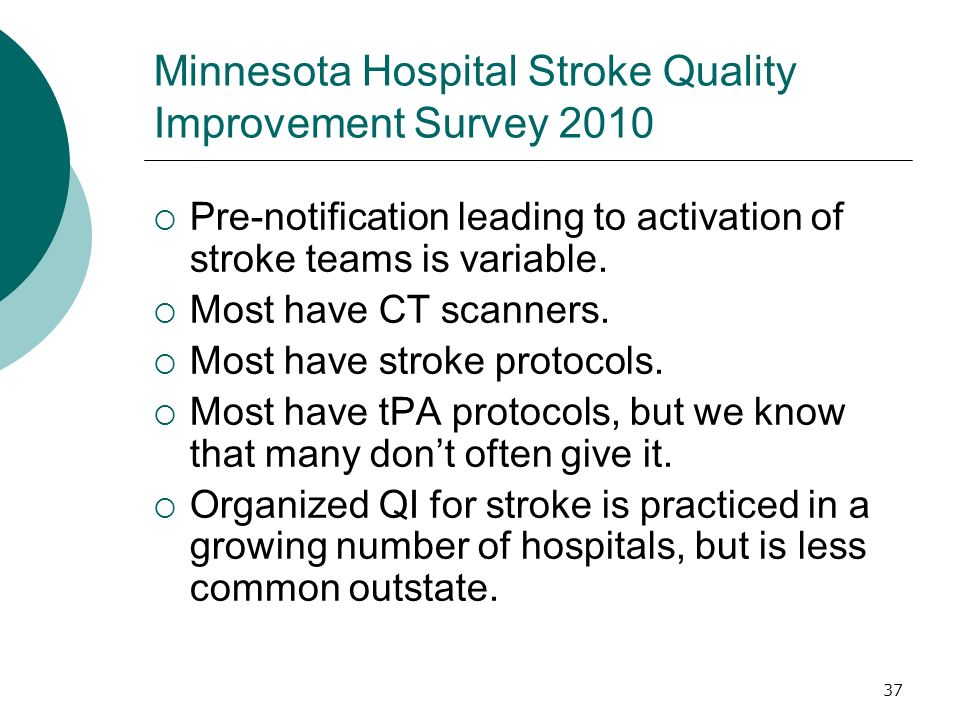 37 Minnesota Hospital Stroke Quality Improvement Survey 2010 Pre-notification leading to activation of stroke teams is variable.