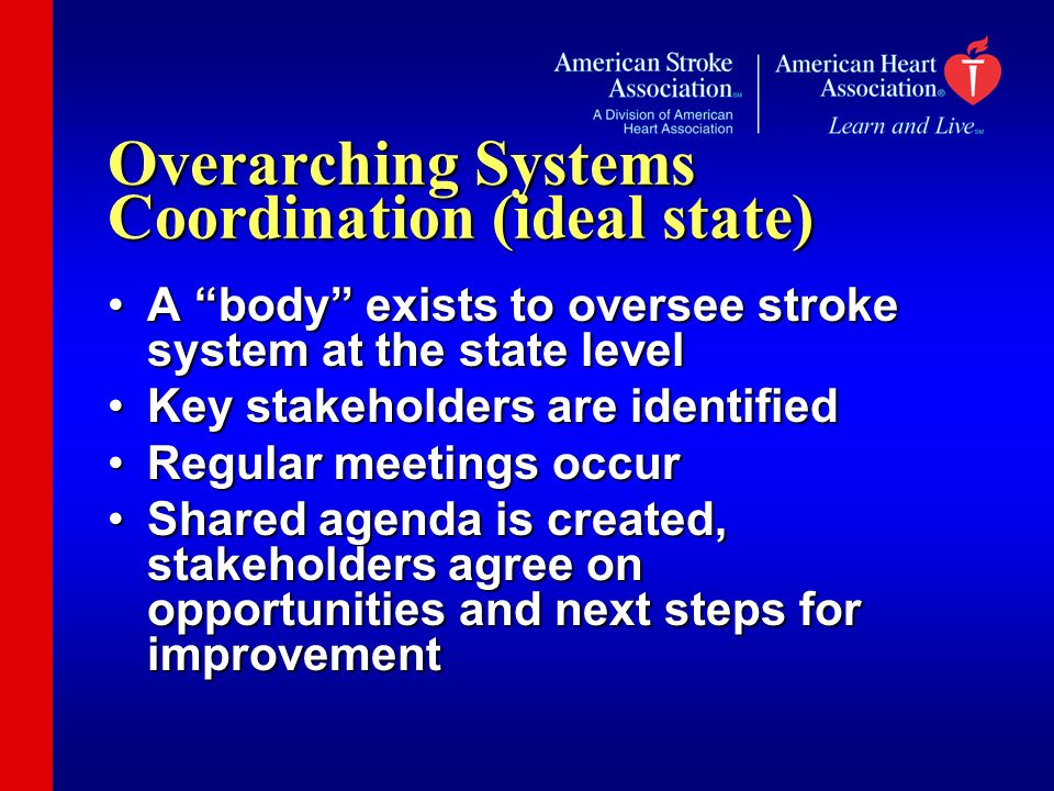 Overarching Systems Coordination (ideal state) A body exists to oversee stroke system at the state levelA body exists to oversee stroke system at the state level Key stakeholders are identifiedKey stakeholders are identified Regular meetings occurRegular meetings occur Shared agenda is created, stakeholders agree on opportunities and next steps for improvementShared agenda is created, stakeholders agree on opportunities and next steps for improvement