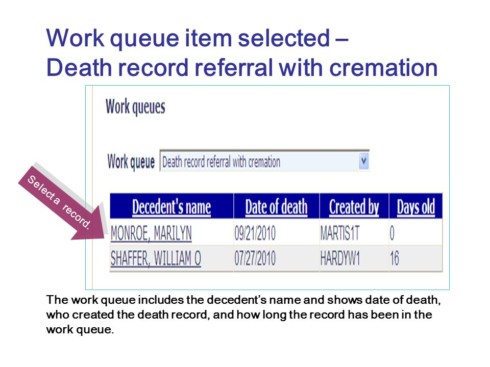 Select a record. Work queue item selected – Death record referral with cremation The work queue includes the decedents name and shows date of death, w