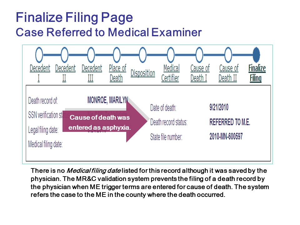 Finalize Filing Page Case Referred to Medical Examiner There is no Medical filing date listed for this record although it was saved by the physician.