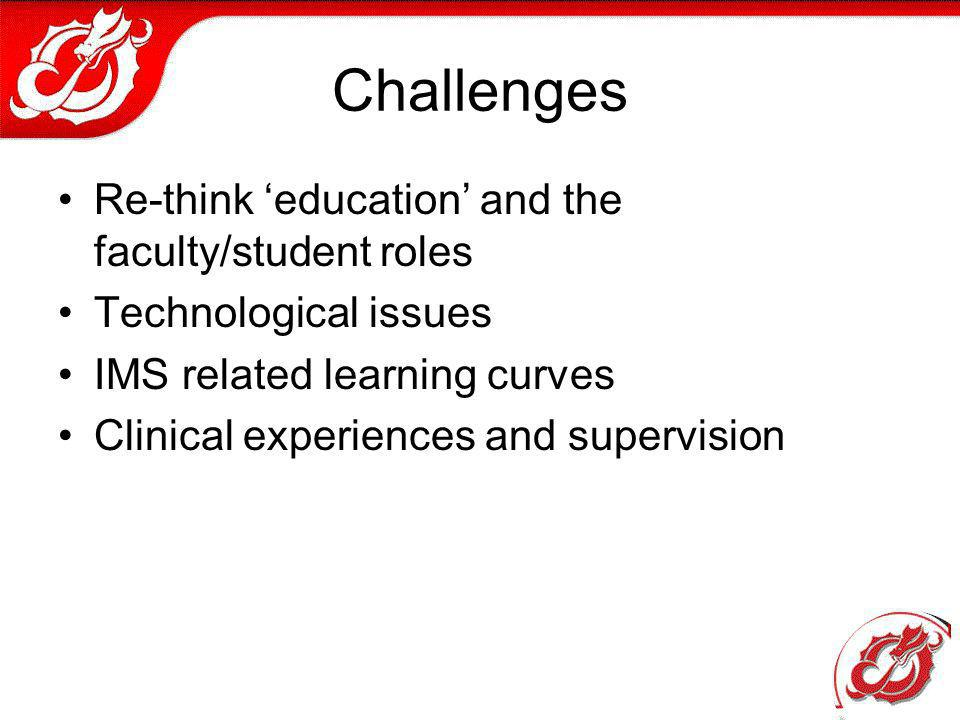 Challenges Re-think education and the faculty/student roles Technological issues IMS related learning curves Clinical experiences and supervision