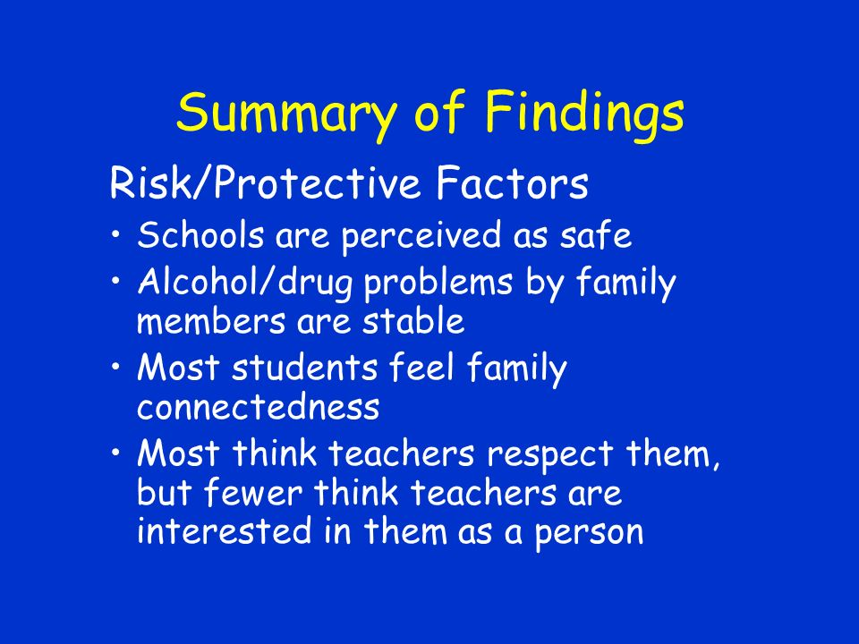 Summary of Findings Risk/Protective Factors Schools are perceived as safe Alcohol/drug problems by family members are stable Most students feel family connectedness Most think teachers respect them, but fewer think teachers are interested in them as a person