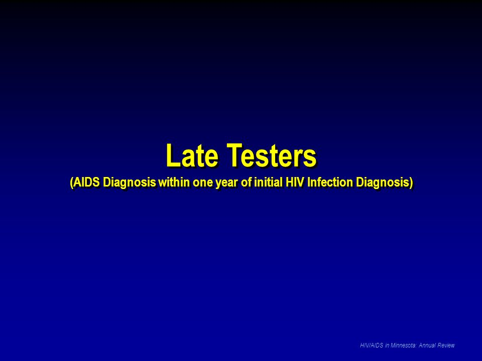 Late Testers (AIDS Diagnosis within one year of initial HIV Infection Diagnosis) Late Testers (AIDS Diagnosis within one year of initial HIV Infection