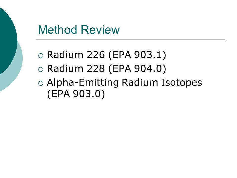 Method Review Radium 226 (EPA 903.1) Radium 228 (EPA 904.0) Alpha-Emitting Radium Isotopes (EPA 903.0)