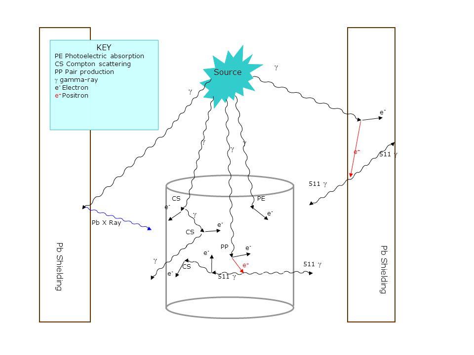 Pb Shielding e-e- e 511 γ γ γ Pb X Ray e-e- PE e-e- e-e- CS γ γ Source γ γ γ e 511 γ e-e- e-e- e-e- PP CS KEY PE Photoelectric absorption CS Compton scattering PP Pair production γ gamma-ray e - Electron e Positron