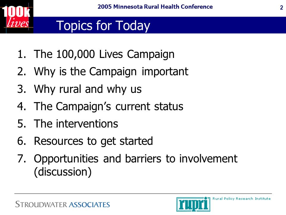 2005 Minnesota Rural Health Conference 13 Changes Proven to Prevent Avoidable Death Rapid Response Teams –Cardiac arrest or shock occurs in 0.6% of medical patients and 0.5% of surgical patients.