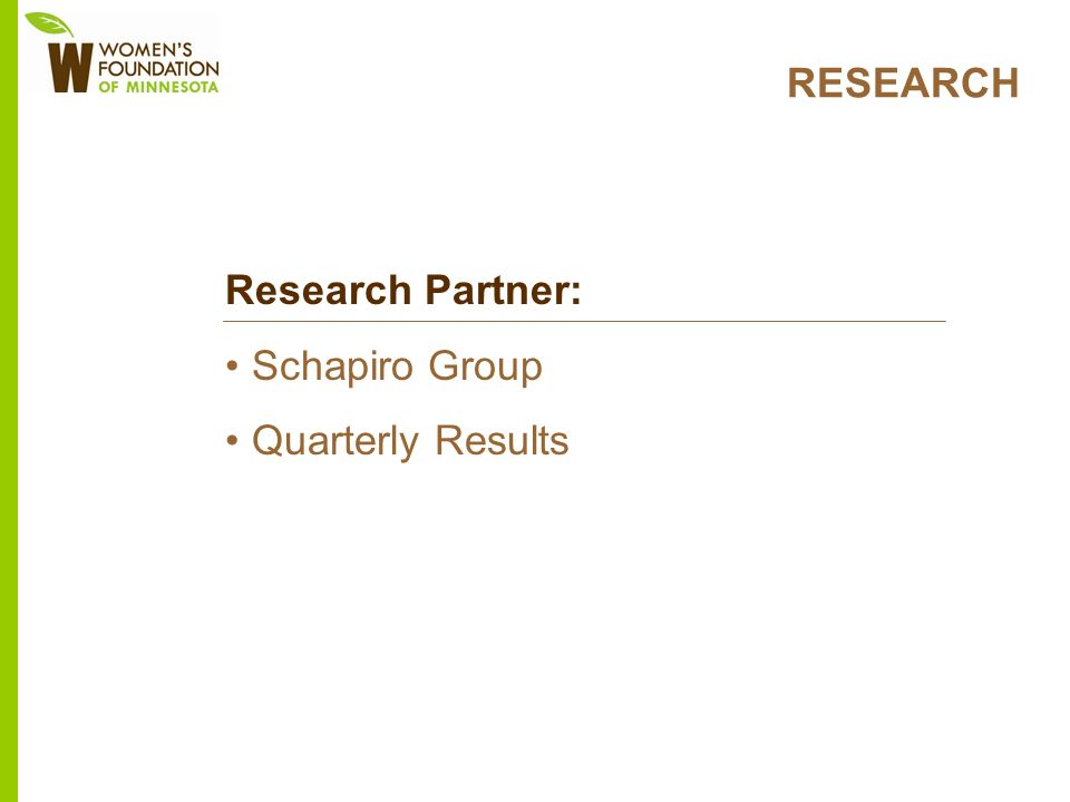 RESEARCH Research Partner: Schapiro Group Quarterly Results
