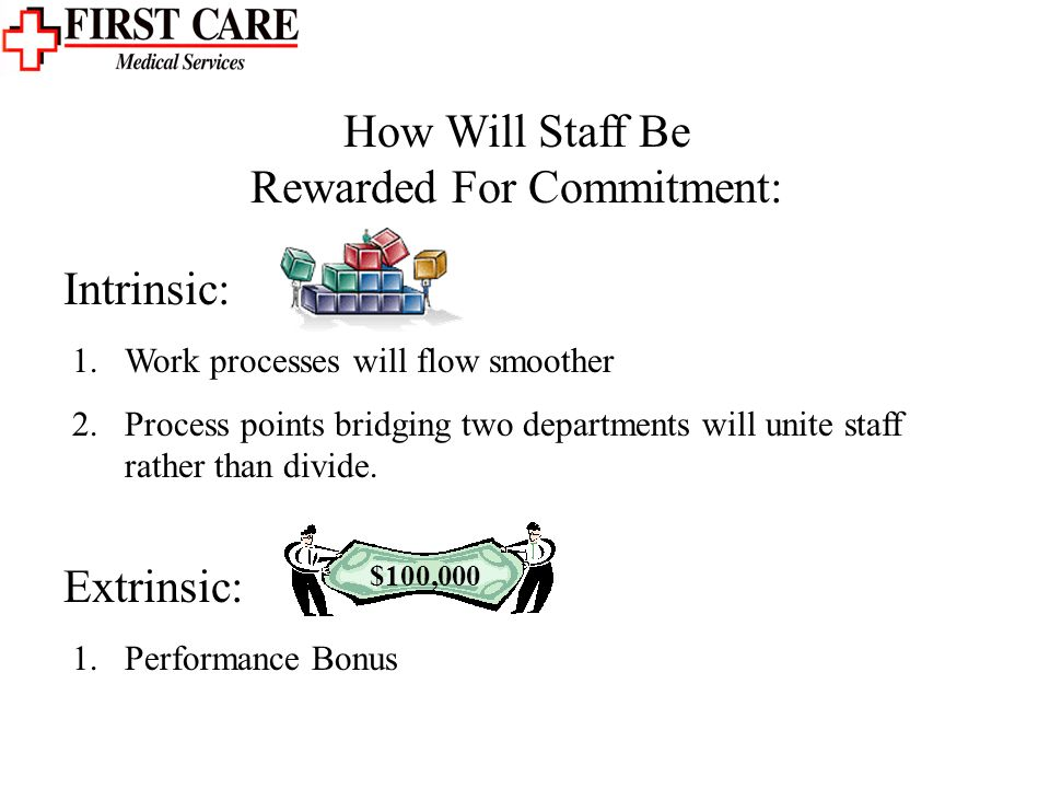 How Will Staff Be Rewarded For Commitment: 1.Work processes will flow smoother 2.Process points bridging two departments will unite staff rather than divide.