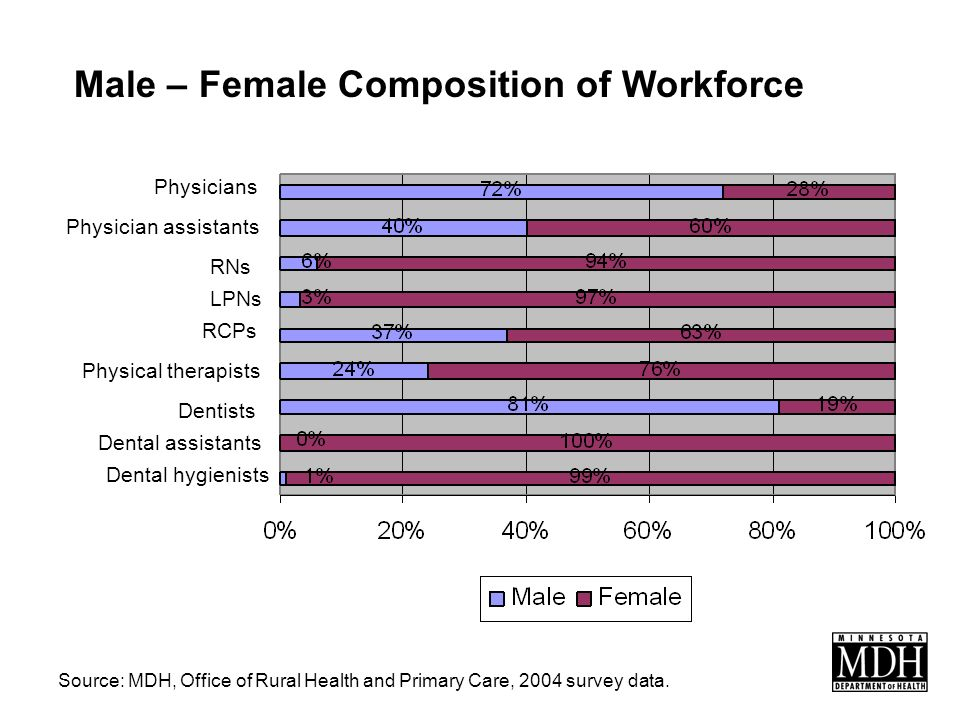 Male – Female Composition of Workforce Source: MDH, Office of Rural Health and Primary Care, 2004 survey data.