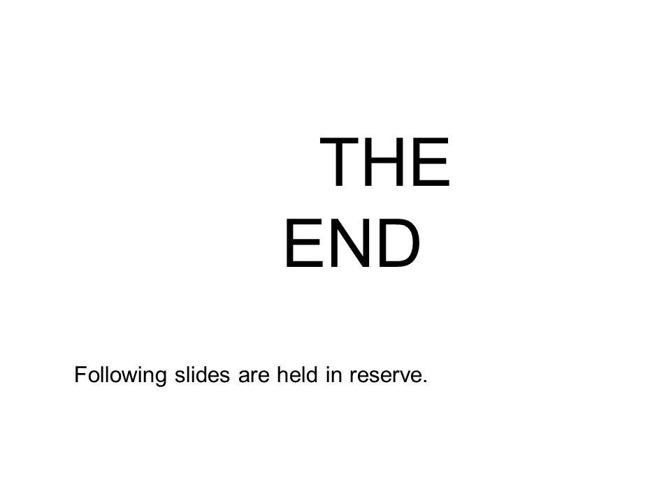 THE END Following slides are held in reserve.