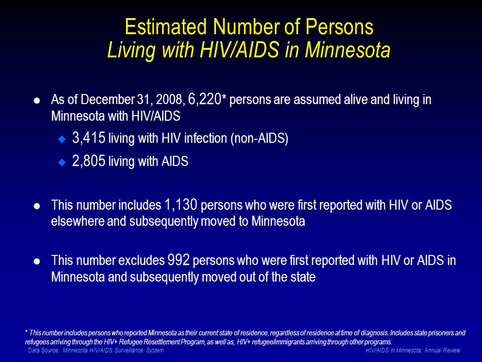 Data Source: Minnesota HIV/AIDS Surveillance System HIV/AIDS in Minnesota: Annual Review Estimated Number of Persons Living with HIV/AIDS in Minnesota As of December 31, 2008, 6,220 * persons are assumed alive and living in Minnesota with HIV/AIDS 3,415 living with HIV infection (non-AIDS) 2,805 living with AIDS This number includes 1,130 persons who were first reported with HIV or AIDS elsewhere and subsequently moved to Minnesota This number excludes 992 persons who were first reported with HIV or AIDS in Minnesota and subsequently moved out of the state * This number includes persons who reported Minnesota as their current state of residence, regardless of residence at time of diagnosis.