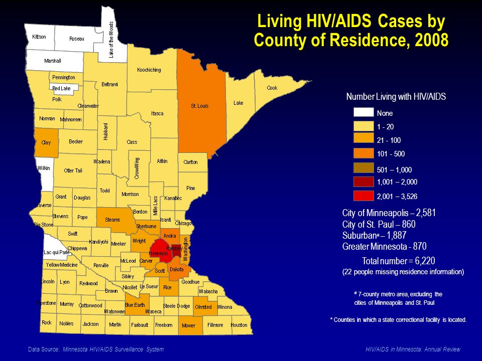 Data Source: Minnesota HIV/AIDS Surveillance System HIV/AIDS in Minnesota: Annual Review Living HIV/AIDS Cases by County of Residence, 2008 None 1 - 20 21 - 100 101 - 500 501 – 1,000 1,001 – 2,000 2,001 – 3,526 Number Living with HIV/AIDS Total number = 6,220 (22 people missing residence information) * Counties in which a state correctional facility is located.