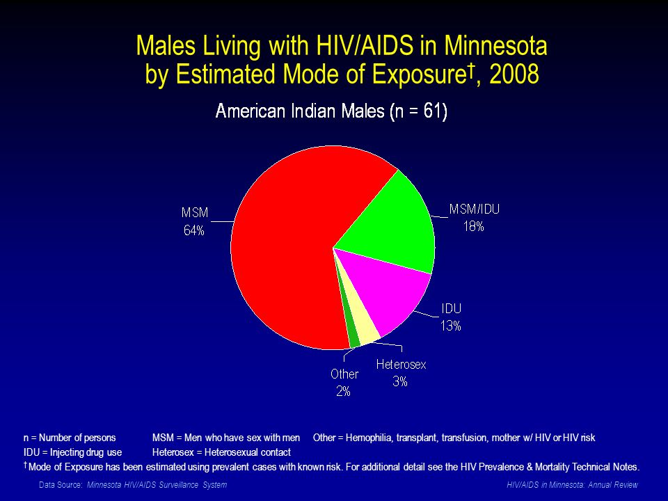 Data Source: Minnesota HIV/AIDS Surveillance System HIV/AIDS in Minnesota: Annual Review Males Living with HIV/AIDS in Minnesota by Estimated Mode of