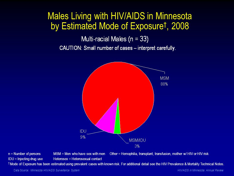 Data Source: Minnesota HIV/AIDS Surveillance System HIV/AIDS in Minnesota: Annual Review Males Living with HIV/AIDS in Minnesota by Estimated Mode of Exposure, 2008 n = Number of persons MSM = Men who have sex with men Other = Hemophilia, transplant, transfusion, mother w/ HIV or HIV risk IDU = Injecting drug use Heterosex = Heterosexual contact Mode of Exposure has been estimated using prevalent cases with known risk.