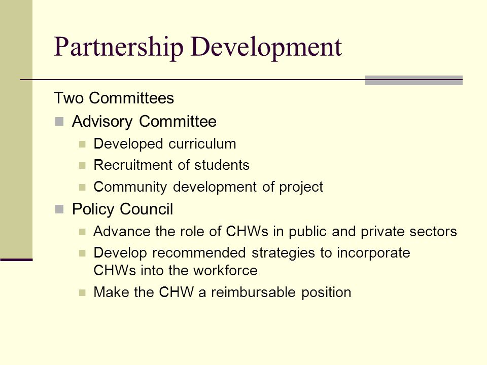 Partnership Development Two Committees Advisory Committee Developed curriculum Recruitment of students Community development of project Policy Council