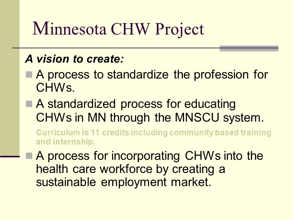 M innesota CHW Project A vision to create: A process to standardize the profession for CHWs. A standardized process for educating CHWs in MN through t