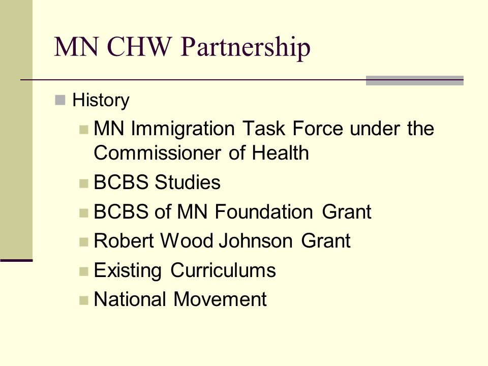 MN CHW Partnership History MN Immigration Task Force under the Commissioner of Health BCBS Studies BCBS of MN Foundation Grant Robert Wood Johnson Gra