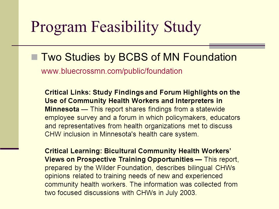 Program Feasibility Study Two Studies by BCBS of MN Foundation www.bluecrossmn.com/public/foundation Critical Links: Study Findings and Forum Highligh