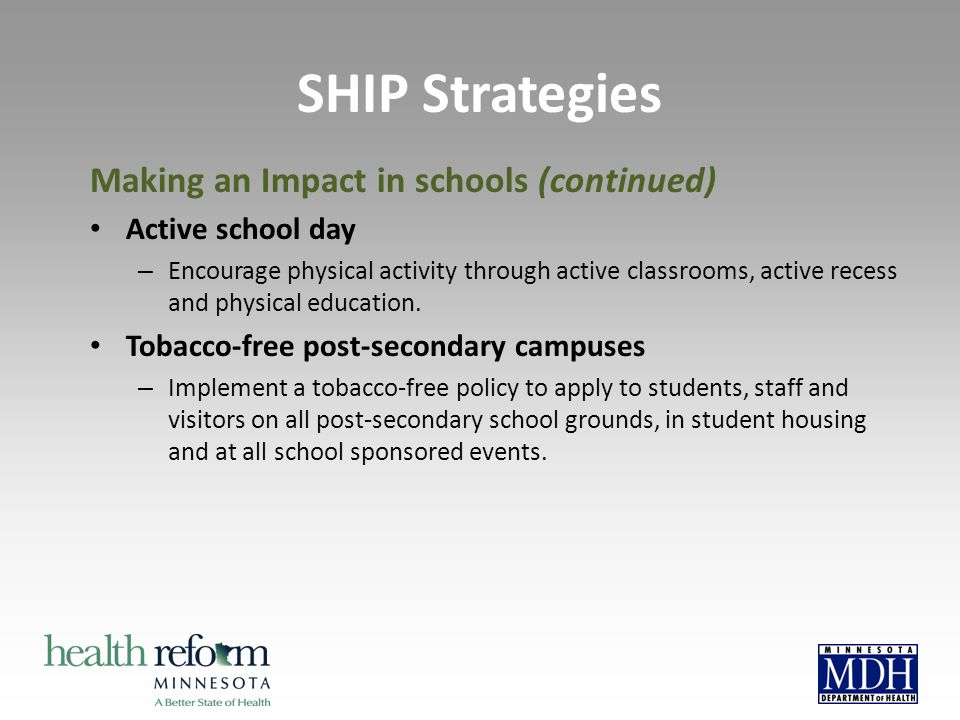Making an Impact in schools (continued) Active school day – Encourage physical activity through active classrooms, active recess and physical education.