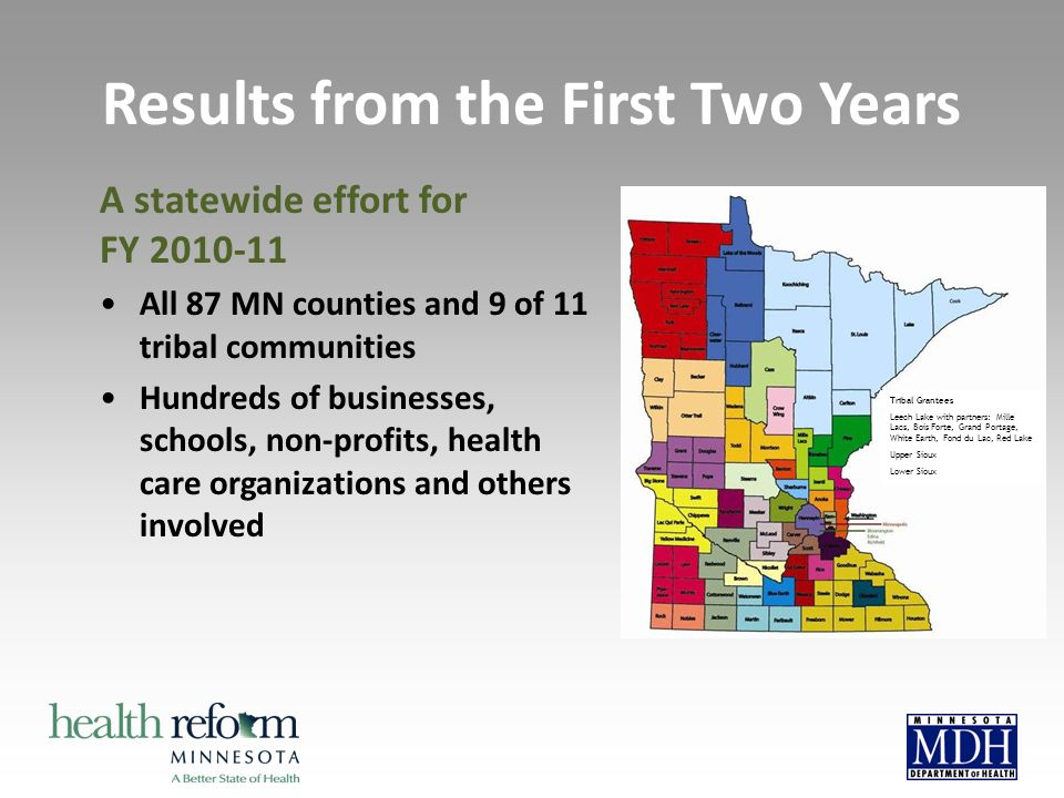 Results from the First Two Years A statewide effort for FY 2010-11 All 87 MN counties and 9 of 11 tribal communities Hundreds of businesses, schools,