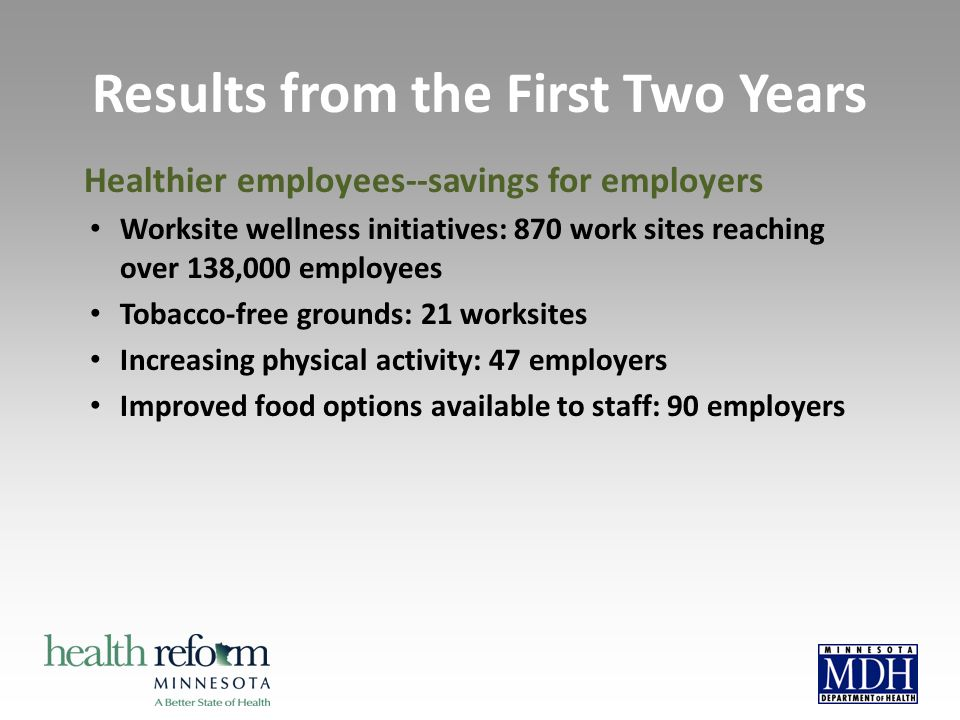 Healthier employees--savings for employers Worksite wellness initiatives: 870 work sites reaching over 138,000 employees Tobacco-free grounds: 21 worksites Increasing physical activity: 47 employers Improved food options available to staff: 90 employers Results from the First Two Years