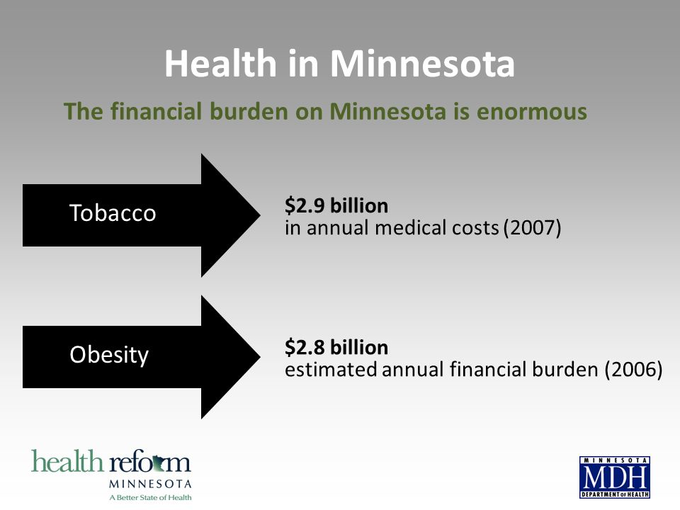 $2.9 billion in annual medical costs (2007) Tobacco Obesity $2.8 billion estimated annual financial burden (2006) Health in Minnesota The financial bu