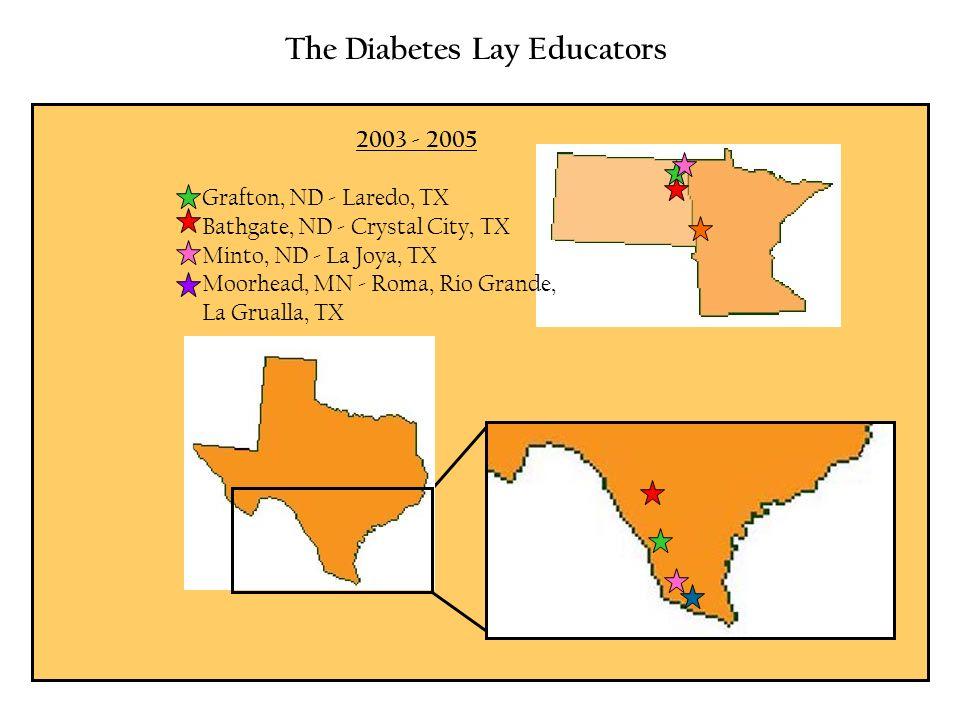 The Diabetes Lay Educators 2003 - 2005 Grafton, ND - Laredo, TX Bathgate, ND - Crystal City, TX Minto, ND - La Joya, TX Moorhead, MN - Roma, Rio Grand