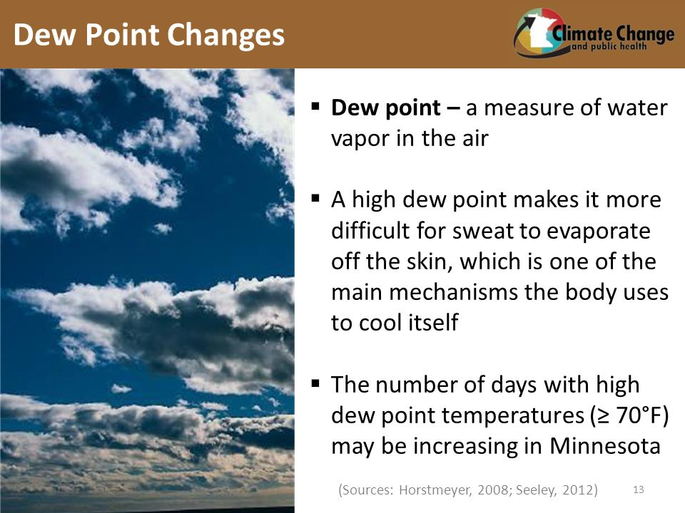 (Sources: Horstmeyer, 2008; Seeley, 2012) Dew point – a measure of water vapor in the air A high dew point makes it more difficult for sweat to evaporate off the skin, which is one of the main mechanisms the body uses to cool itself The number of days with high dew point temperatures ( 70°F) may be increasing in Minnesota Dew Point Changes 13