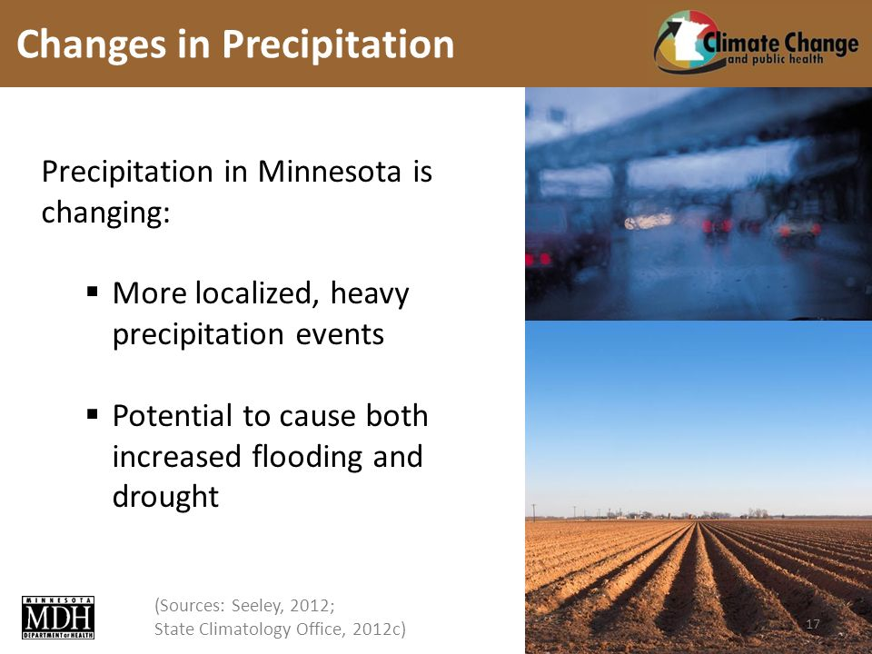 (Sources: Seeley, 2012; State Climatology Office, 2012c) Precipitation in Minnesota is changing: More localized, heavy precipitation events Potential to cause both increased flooding and drought Changes in Precipitation 17