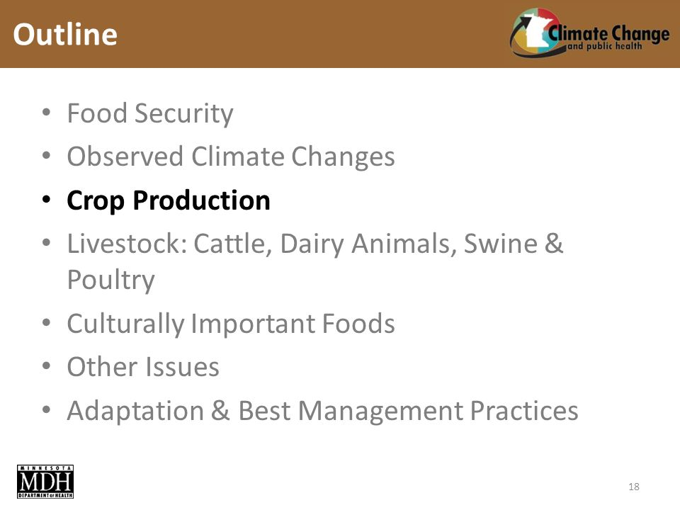 Food Security Observed Climate Changes Crop Production Livestock: Cattle, Dairy Animals, Swine & Poultry Culturally Important Foods Other Issues Adaptation & Best Management Practices Outline 18