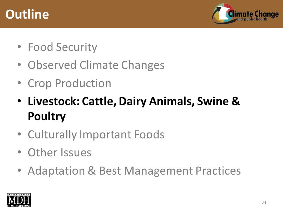Food Security Observed Climate Changes Crop Production Livestock: Cattle, Dairy Animals, Swine & Poultry Culturally Important Foods Other Issues Adaptation & Best Management Practices Outline 34