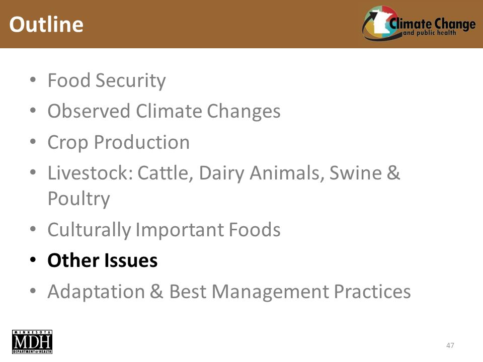 Food Security Observed Climate Changes Crop Production Livestock: Cattle, Dairy Animals, Swine & Poultry Culturally Important Foods Other Issues Adaptation & Best Management Practices Outline 47