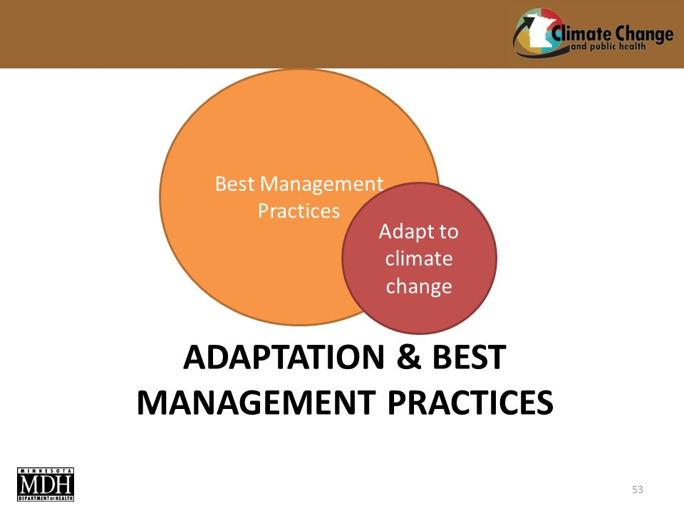 Best Management Practices Adapt to climate change ADAPTATION & BEST MANAGEMENT PRACTICES 53