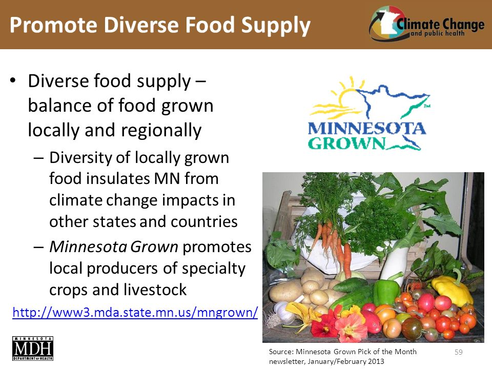 Source: Minnesota Grown Pick of the Month newsletter, January/February 2013 Diverse food supply – balance of food grown locally and regionally – Diversity of locally grown food insulates MN from climate change impacts in other states and countries – Minnesota Grown promotes local producers of specialty crops and livestock   Promote Diverse Food Supply 59