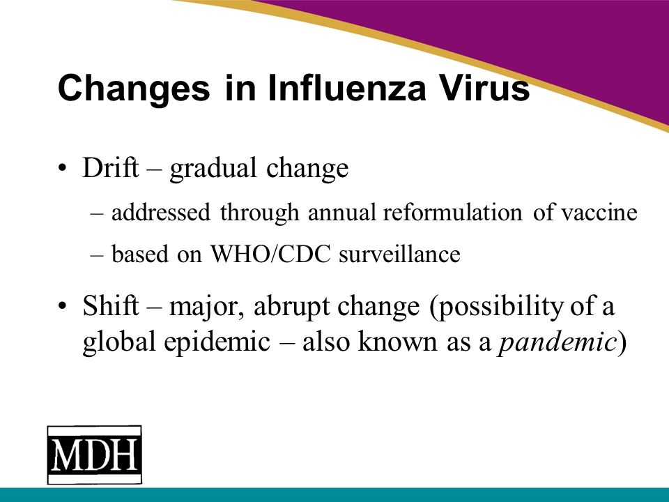 Changes in Influenza Virus Drift – gradual change –addressed through annual reformulation of vaccine –based on WHO/CDC surveillance Shift – major, abr