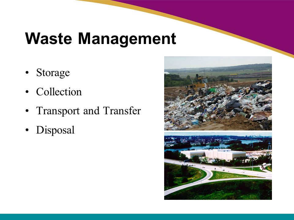 Waste Management Storage Collection Transport and Transfer Disposal