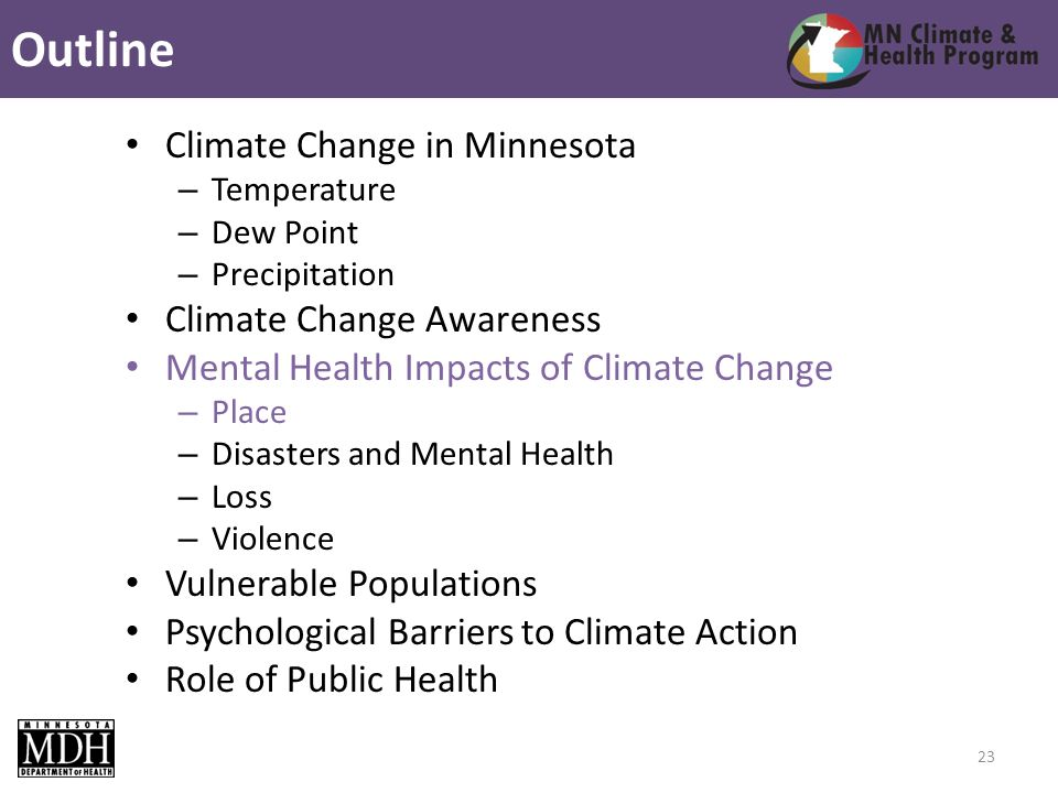 Climate Change in Minnesota – Temperature – Dew Point – Precipitation Climate Change Awareness Mental Health Impacts of Climate Change – Place – Disasters and Mental Health – Loss – Violence Vulnerable Populations Psychological Barriers to Climate Action Role of Public Health Outline 23