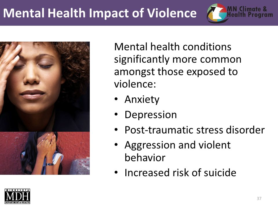 Mental health conditions significantly more common amongst those exposed to violence: Anxiety Depression Post-traumatic stress disorder Aggression and violent behavior Increased risk of suicide Mental Health Impact of Violence 37