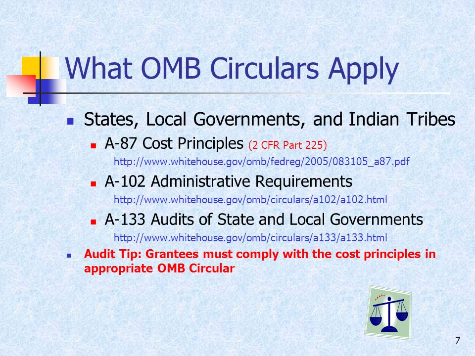 7 What OMB Circulars Apply States, Local Governments, and Indian Tribes A-87 Cost Principles (2 CFR Part 225)   A-102 Administrative Requirements   A-133 Audits of State and Local Governments   Audit Tip: Grantees must comply with the cost principles in appropriate OMB Circular