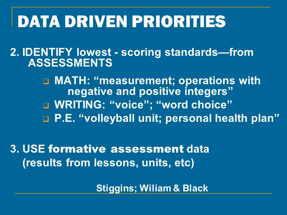 DATA DRIVEN PRIORITIES 2. IDENTIFY lowest - scoring standardsfrom ASSESSMENTS MATH: measurement; operations with negative and positive integers WRITIN