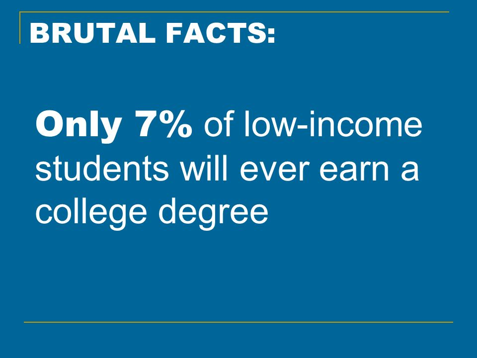 BRUTAL FACTS: Only 7% of low-income students will ever earn a college degree