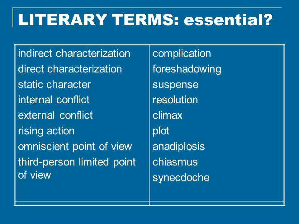 LITERARY TERMS: essential? indirect characterization direct characterization static character internal conflict external conflict rising action omnisc