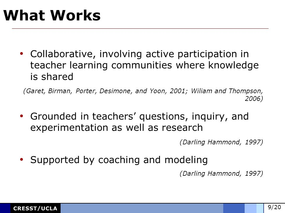 9/20 Collaborative, involving active participation in teacher learning communities where knowledge is shared (Garet, Birman, Porter, Desimone, and Yoon, 2001; Wiliam and Thompson, 2006) Grounded in teachers questions, inquiry, and experimentation as well as research (Darling Hammond, 1997) Supported by coaching and modeling (Darling Hammond, 1997) What Works