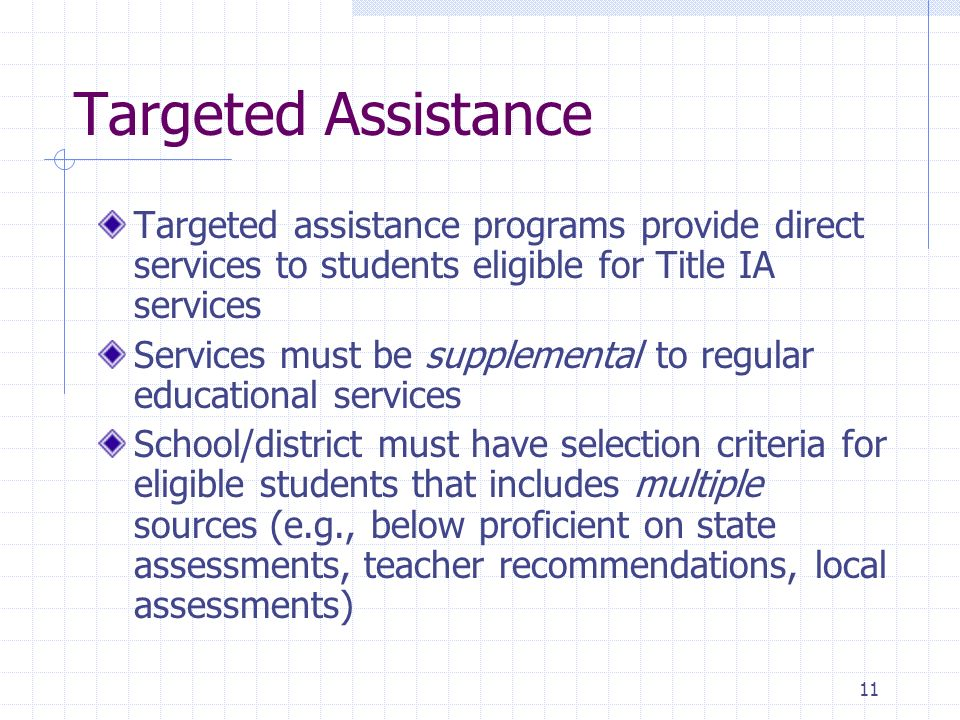 11 Targeted Assistance Targeted assistance programs provide direct services to students eligible for Title IA services Services must be supplemental t