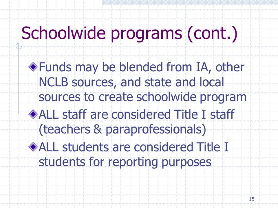 15 Schoolwide programs (cont.) Funds may be blended from IA, other NCLB sources, and state and local sources to create schoolwide program ALL staff ar