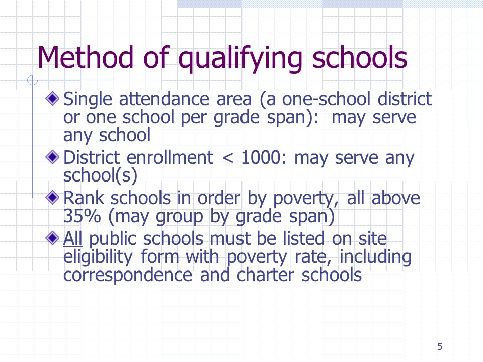 5 Method of qualifying schools Single attendance area (a one-school district or one school per grade span): may serve any school District enrollment <