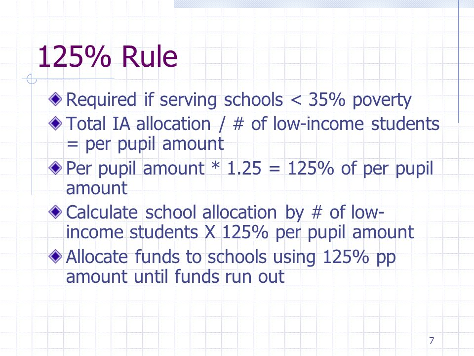 7 125% Rule Required if serving schools < 35% poverty Total IA allocation / # of low-income students = per pupil amount Per pupil amount * 1.25 = 125%