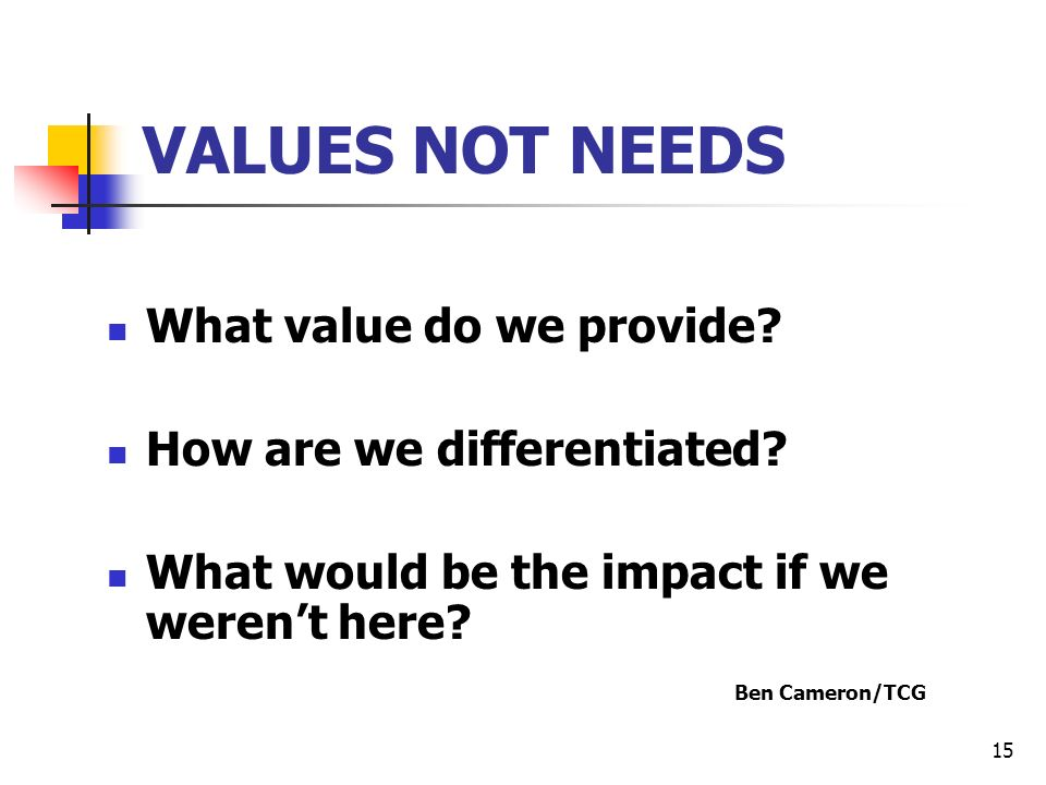 15 VALUES NOT NEEDS What value do we provide. How are we differentiated.